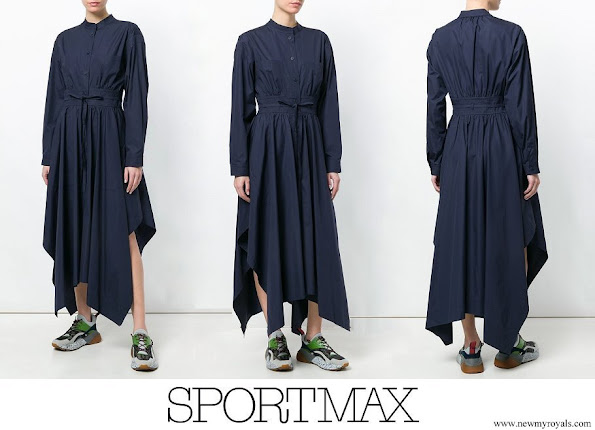 Princess Salma wore SPORTMAX asymmetric poplin maxi dress