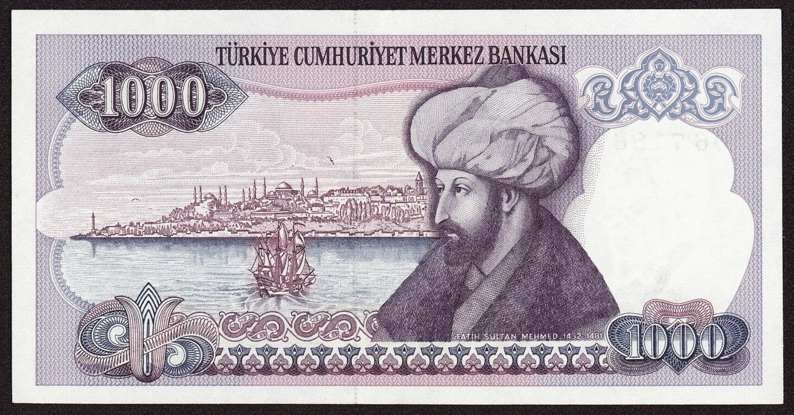 "Turkey currency money 1000 Turkish Lira ""Türk Lirasi"" note Fatih Sultan Mehmet Conqueror, view of Istanbul"