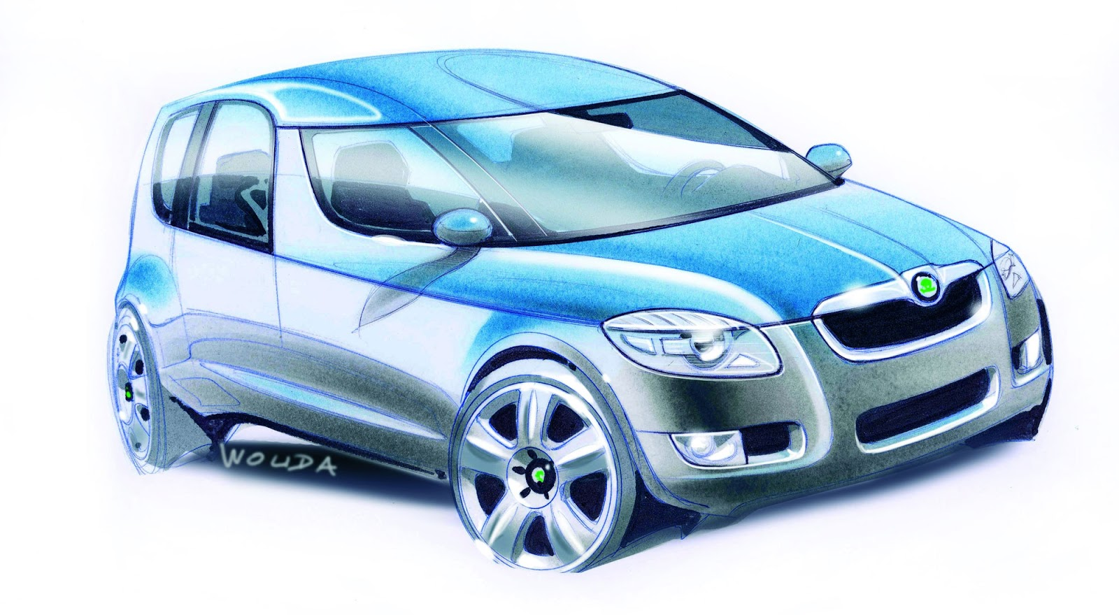 Skoda Roomster sketch by Peter Wouda - final theme, front quarter view