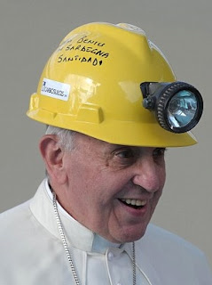 Pope in hard hat