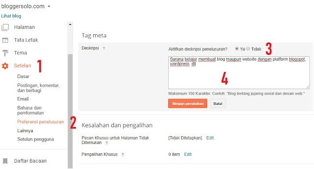 Cara Mengaktifkan dan Menampilkan Deskripsi Penelusuran Blog Pada Mesin Pencari