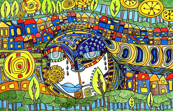 a colorful whimsical mixed media piece inspired by Hundertwasser of a face surrounded by houses and trees