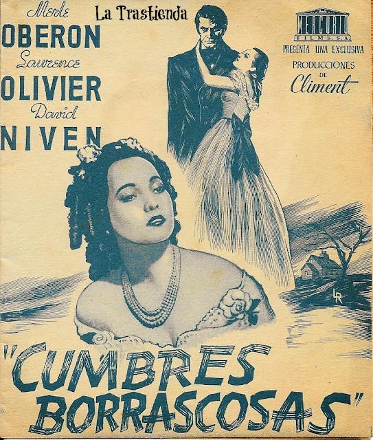 Cumbres Borrascosas - Folleto de cine - Laurence Olivier - Merle Oberon