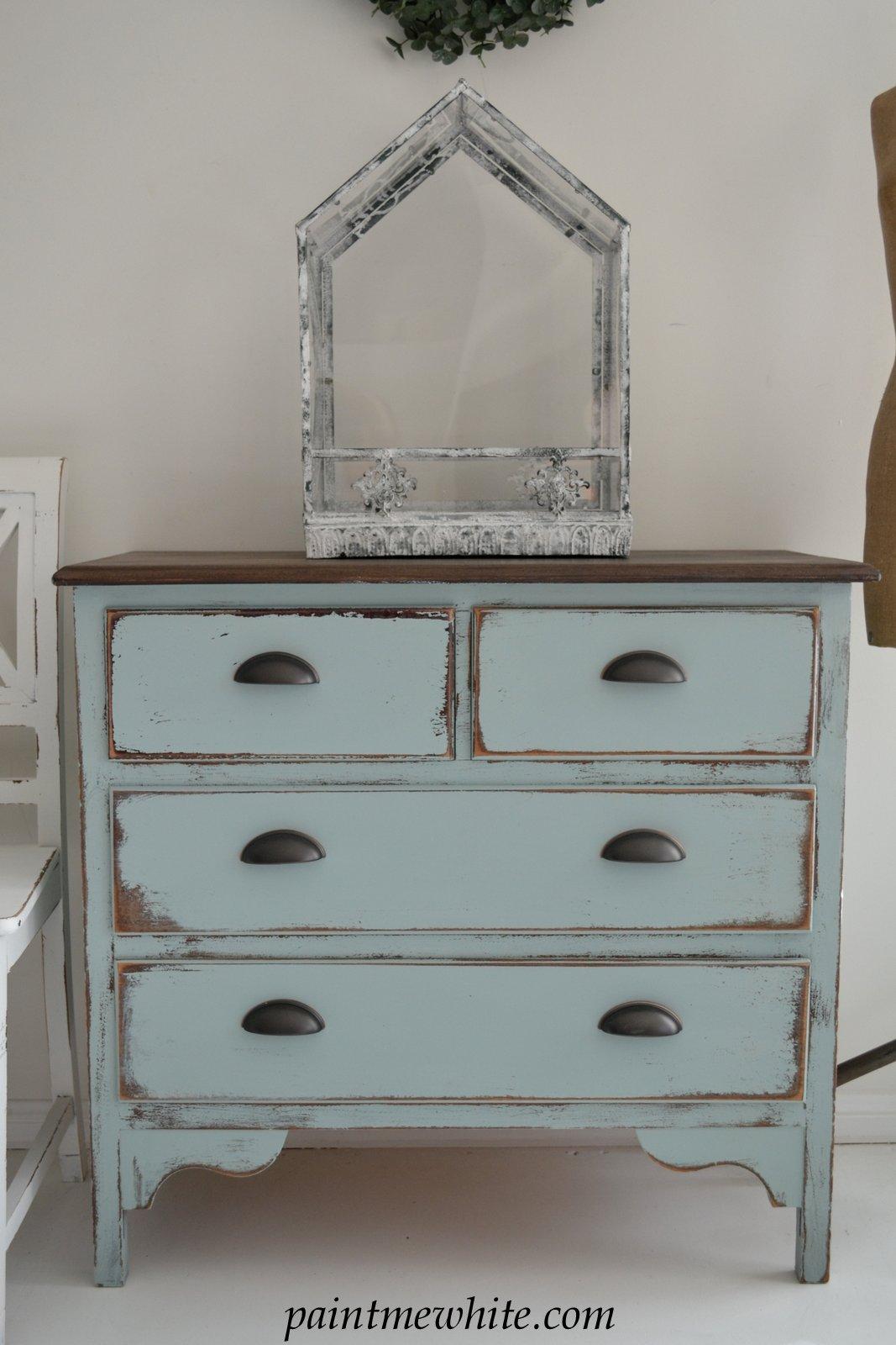Coastal Blue Dresser Paint Me White