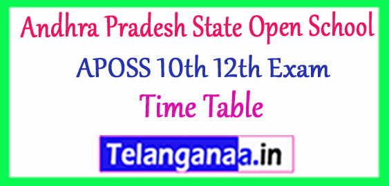 Andhra Pradesh State Open School  10th 12th Annual Exam Time Table 2018