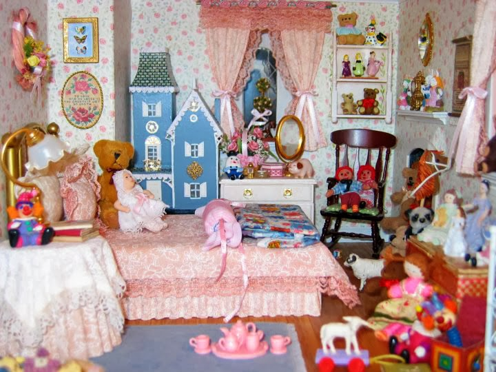 Miniature Children S Bedroom Room Box Diorama: BluKatKraft: Victorian Dollhouse Miniature: Sewing