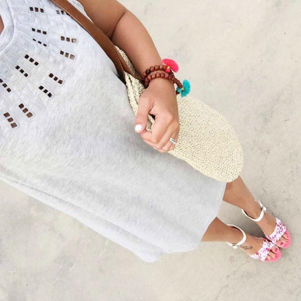 straw tote bag, tassel bracelets