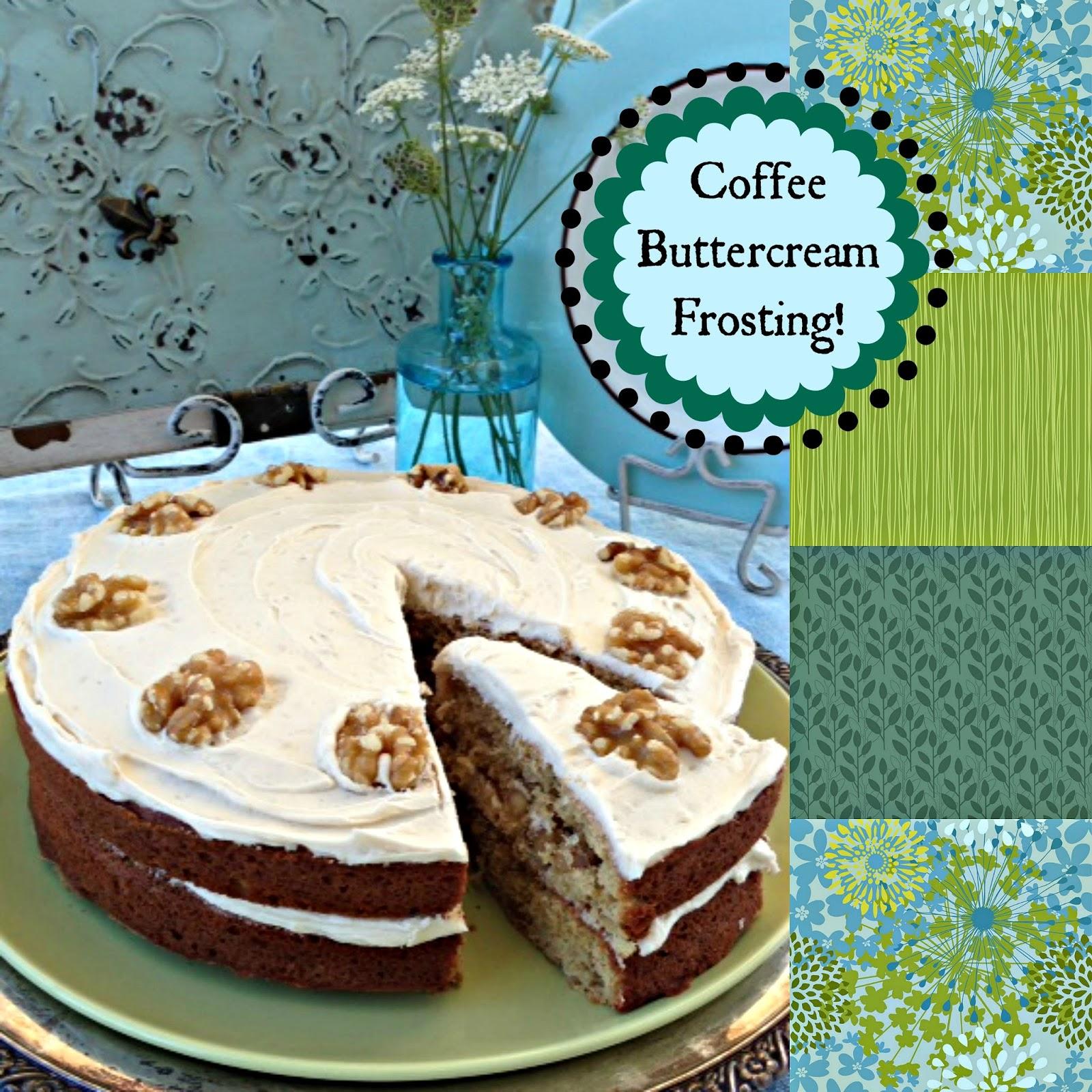 Yum Coffee Walnut Cake With Coffee Buttercream Frosting