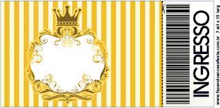 Tarjeta con forma de Ticket de Corona Dorada en Azul y Amarillo.