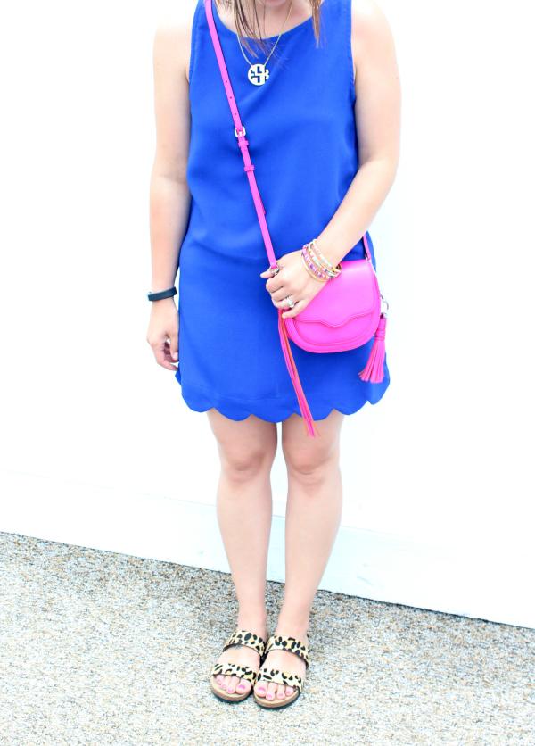 beach style, scallop dress, pink purse