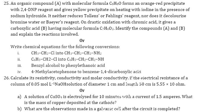 C.B.S.E Sample paper for   chemistry class 12