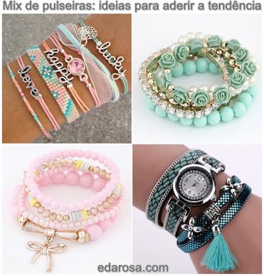 pulseiras combinadas na moda