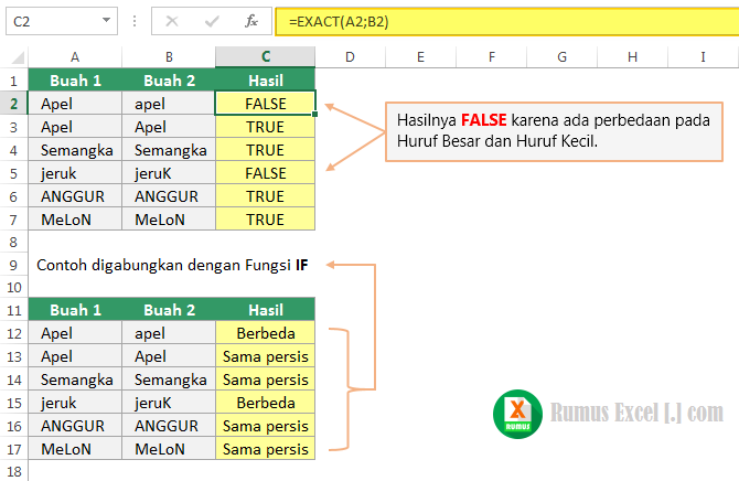 Cara menggunakan fungsi EXACT di Excel