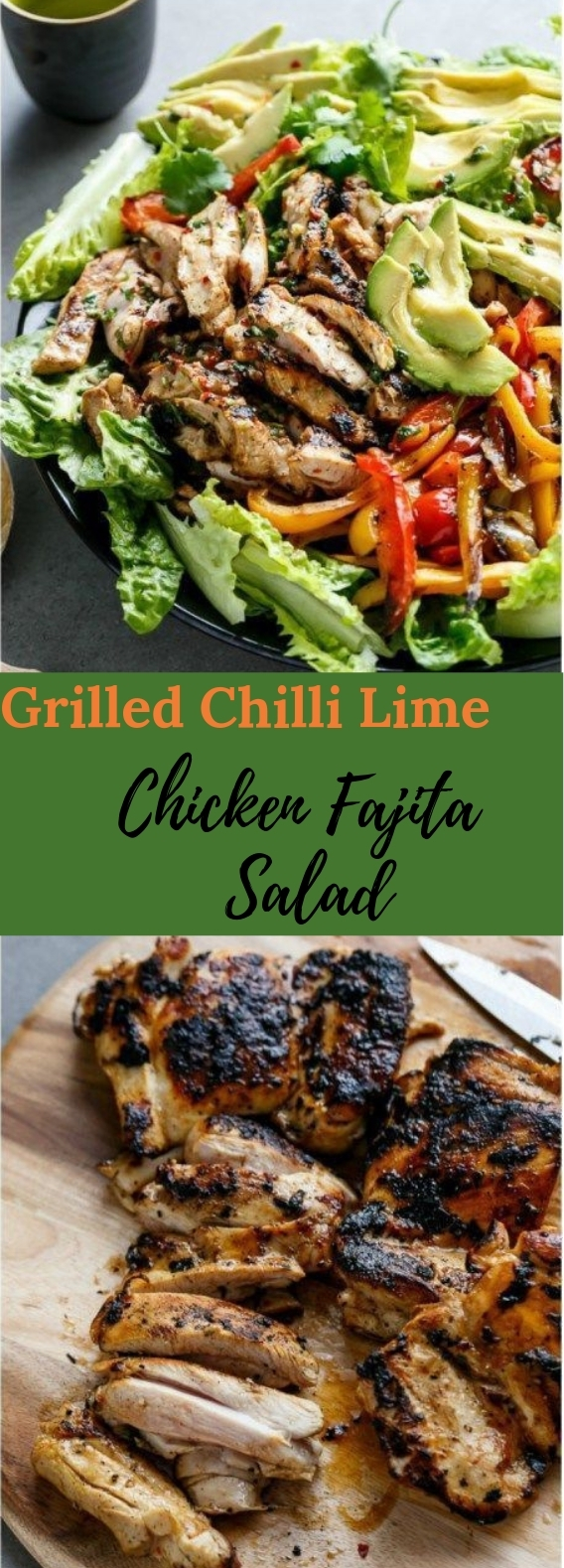 Grilled Chili Lime Chicken Fajita Salad #healthy #salad