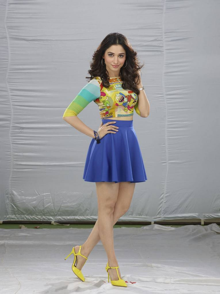 Tamannaah Legs Thigh Show Images In Blue Mini Skirt