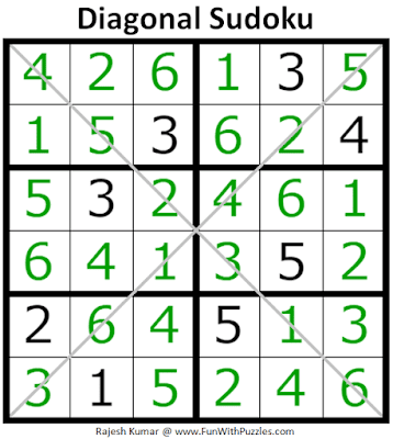 Answer of Diagonal Sudoku Puzzle (Mini Sudoku Series #108)