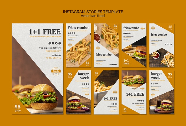 Juicy burger week instagram stories template Free Psd