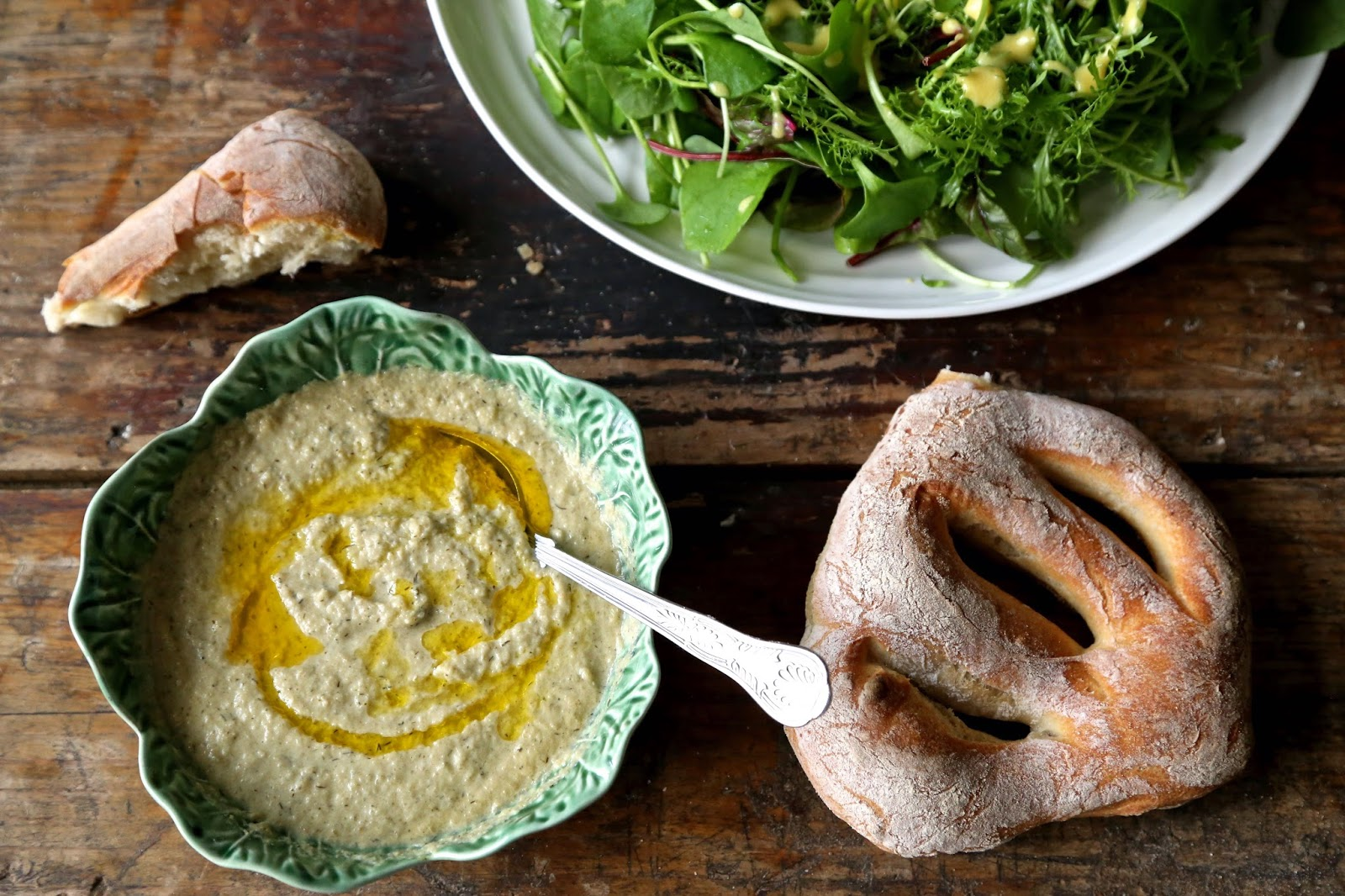 roast fennel soup, salad, fougasse bread