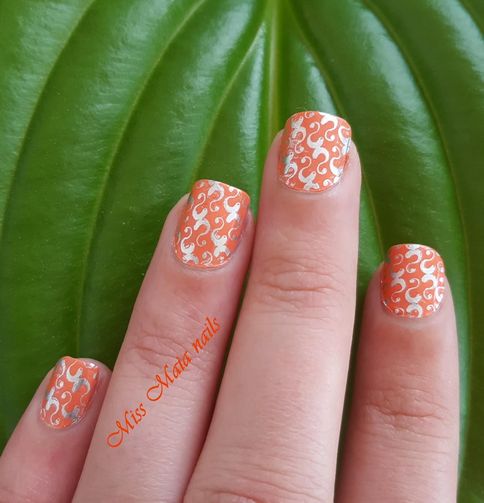 Vistoso Naranja Y Plata Uñas Bosquejo - Ideas Para Pintar Uñas ...