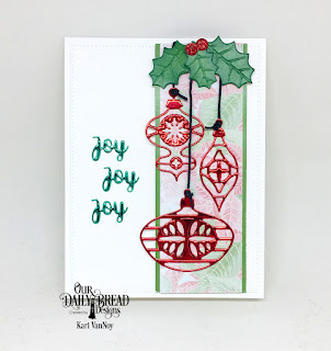 Our Daily Bread Designs Paper Collection: Christmas 2018, Custom Dies: Retro Ornaments, Holiday Words, Christmas Bells, Pierced Eectangles