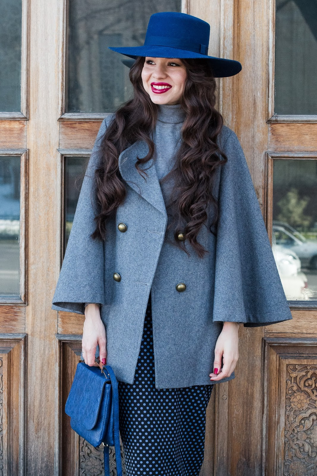 fashion blogger diyorasnotes diyora beta oversized hat asos polka dot skirt outfit of the day blue hat grey coat vipme