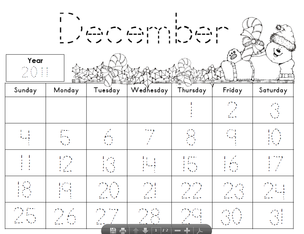 Kindergarten January Traceable Calendar