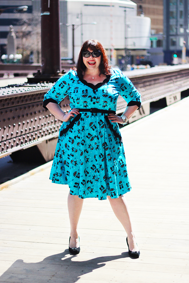 Plus Size Blogger Amber from Style Plus Curves in a Voodoo Vixen Retro Dress