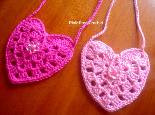 Pink Rose Crochet Bolsinhas Colar Cora 231 227 O Rosa Pink