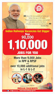 Good News - रेलवे ने बढ़ाई पदों की संख्या (अब 1,10,000 पद)