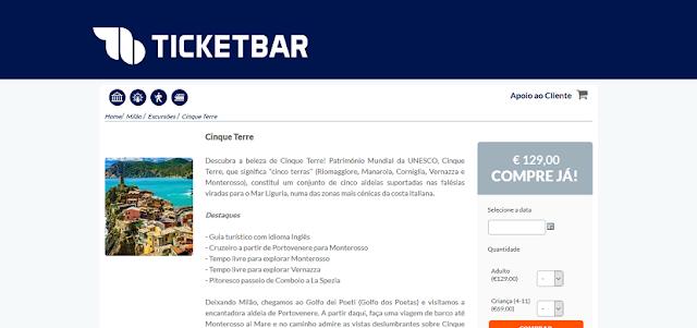 Ticketbar para ingressos para um passeio a Cinque Terre