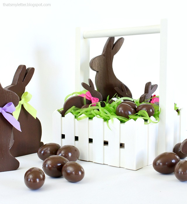 diy easter basket with faux chocolate bunnies and eggs