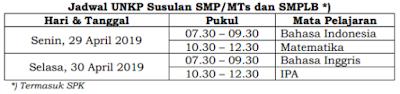 Jadwal UNKP Susulan SMP/MTs