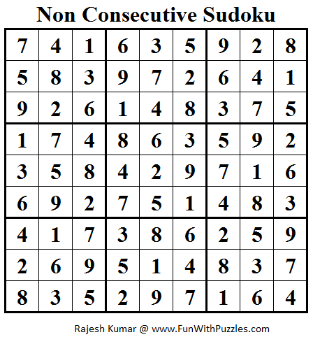 Non Consecutive Sudoku (Daily Sudoku League #88)