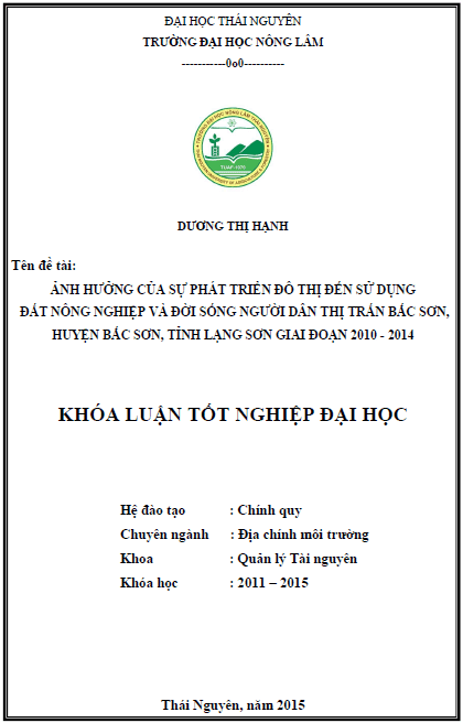 Ảnh hưởng của sự phát triển đô thị đến sử dụng đất nông nghiệp và đời sống người dân tại thị trấn Bắc Sơn huyện Bắc Sơn tỉnh Lạng Sơn giai đoạn năm 2010 – 2014