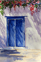 Water colour study work of a door from Santorini, Greece. By Manju Panchal
