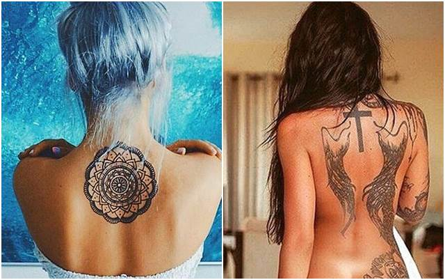 53 Foto Gambar Tato Keren Dipunggung #Tattoo 3D Salib, Tribal Dan Henna Ditubuh Wanita ini