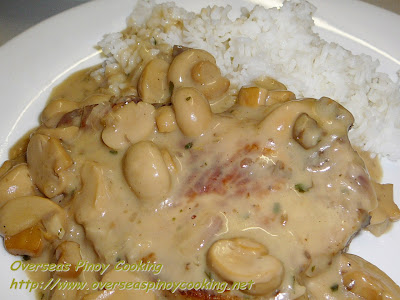 Pork Chop with Mushroom Beer Sauce Rice