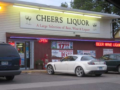 Cheers liquor store sign, promising A large selection of beer, wine and liquor