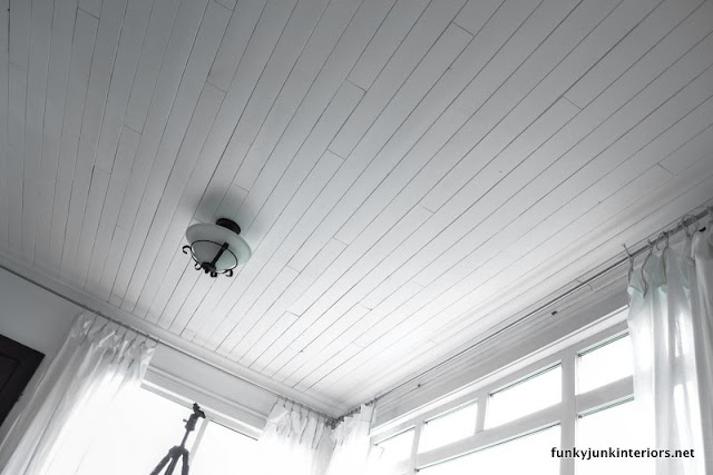 white plank ceiling in photo studio Funky Junk Interiors