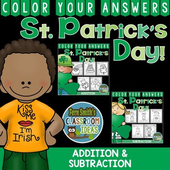 Fern Smith's Classroom Ideas St. Patrick's Day Subtraction and Addition Bundle of Color Your Answers Printables for St. Patrick's Day available at her TeachersPayTeachers Store!