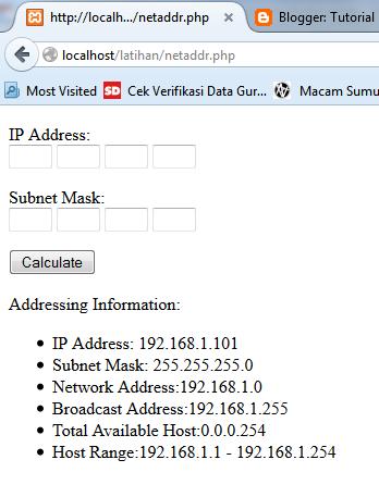 Membuat Subnet Converter Dengan PHP