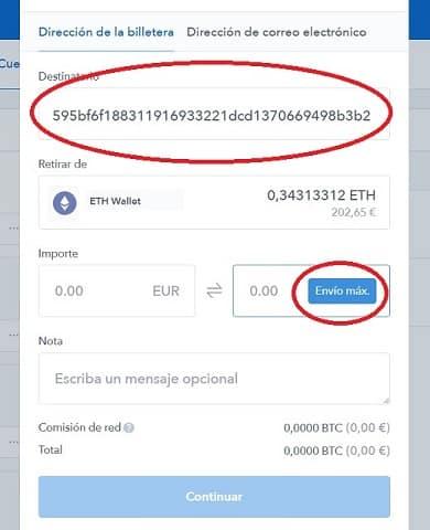 Enviar Ethereum o Bitcoin Criptomonedas a Binance
