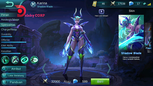 Hero Karina ( Pedang Bayangan ) Burst Damage Build Set up Gear