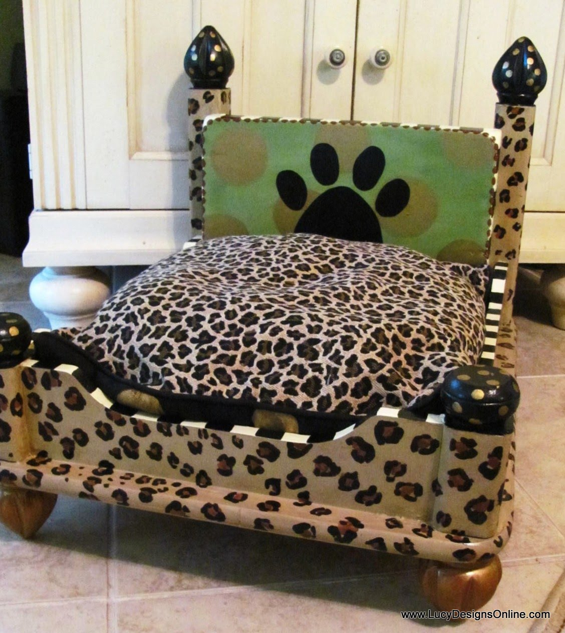 Dog Bed from an End Table - Leopard Print   Lucy Designs