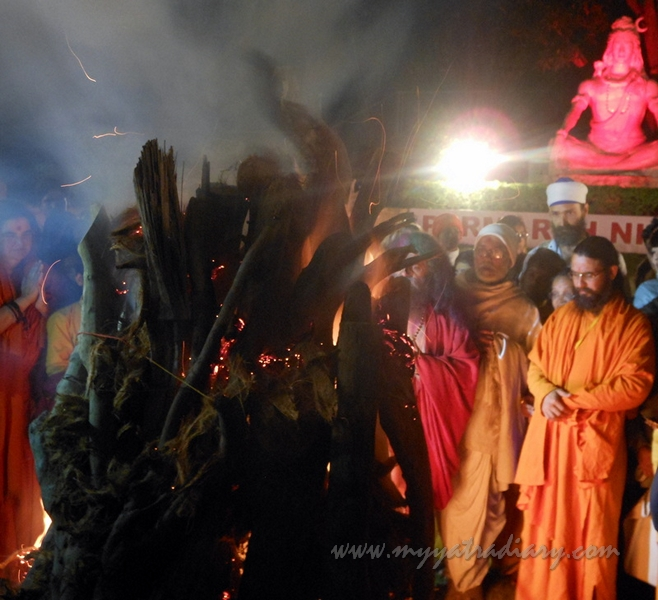 The fire of Holika Dahan on the eve of Holi in India