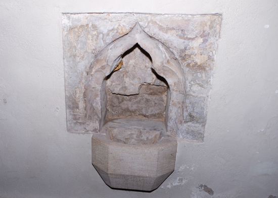 Photograph of the stoup at St Mary's Church, North Mymms - Image from Mike Allen