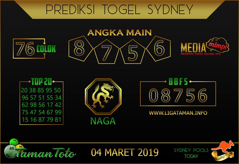 Prediksi Togel SYDNEY TAMAN TOTO 04 MARET 2019
