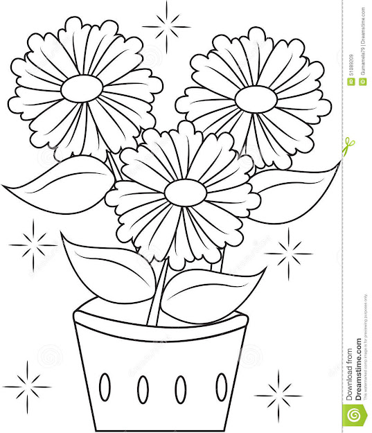 Flower Pot Coloring Page