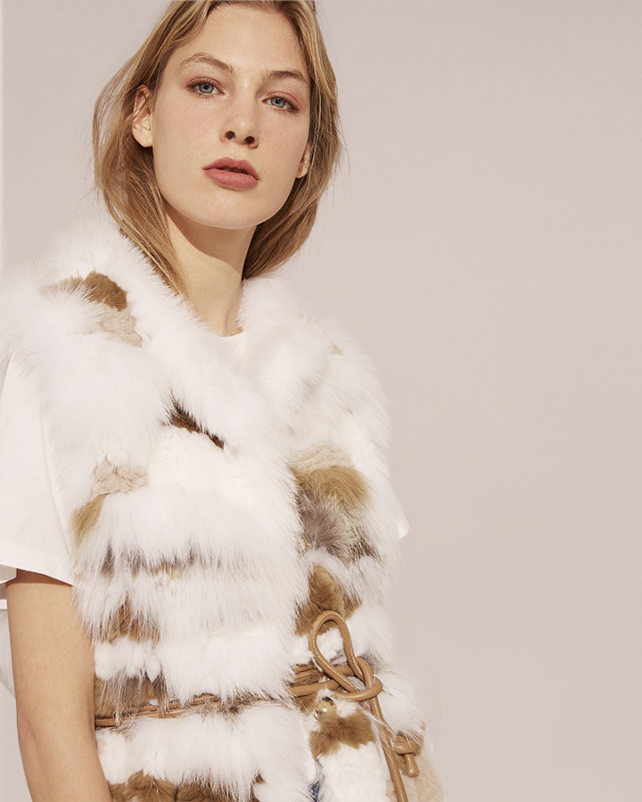 Brown Long Rex And Fox Fur Vest yves salomon
