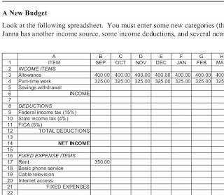 A neat lesson plan on making a budget